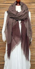 *NEW*OVERSIZE LADIES/MENS SOFT 100% COTTON FRAYED SCARF *BROWN* SCARVES