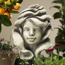 Betonguss Blumenkind Rose Gartenfigur Skulptur Dekoration Gartenstab Garten Deko