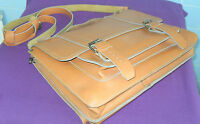 VINTAGE RETRO TAN REAL LEATHER SATCHEL SCHOOL MESSENGER SHOULDER  BAG