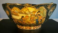 "Vintage Satsuma Hand Painted Ceramic Bowl 8"" Across by 3.1/2"" High"