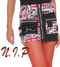 HOT TOPIC HELL BUNNY Jack Union Strappy Goth Punk Visual Kei Mini Pencil Skirt
