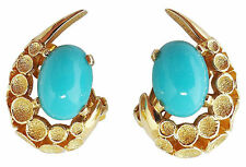 Vintage Signed Jomaz Joseph Mazer Rhinestone Cabochon Runway Couture Earrings