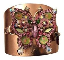 New $65 BETSEY JOHNSON Gold-Tone Crystal Butterfly Cuff Bracelet