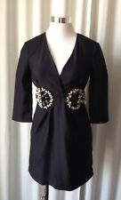 KARTA BLACK   EMBELLISHED 3/4  SLEEVE SHIFT DRESS, SIZE XS