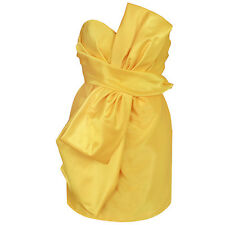 MOSCHINO COUTURE! $2,850 yellow silk strapless oversize-bow mini dress 44/10 NEW