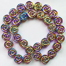 Carved Multicolor Hematite Flower loose bead 15.5 inch D0078430