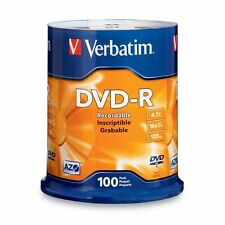 Verbatim 4.7 GB up to 16x Branded Recordable Disc DVD-R 100-Disc FFP 97460, New