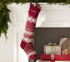 NWT Pottery Barn Kids Fair Isle Red Candy Cane Classic Stocking Christmas