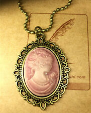 1pcs Fashion Retro Beauty Head Goddess Cameo Charm Alloy Lady Necklace Pink @1