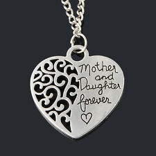 """Mother And Daughter Forever"" Family Necklace Pendant Love Heart Charms Hollow"