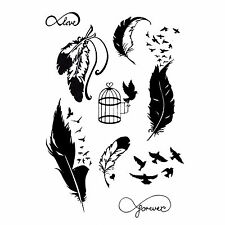 NEW TEMPORARY TATTOO Bird and Feather  KIT Black Jagua Henna 9 Designs tvz*