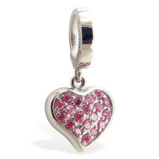 316L Pink Sexy CZ Heart TummyToys Belly Button Ring Comfortable