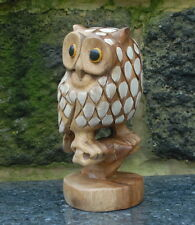 Hand Carved Hand Painted Owl On perch Sustainable  Acasia Hard Wood
