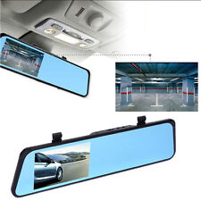 "HD 4.3"" Dual Lens Video Recorder Monitor Dash Cam Rearview Mirror Car Camera DVR"