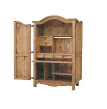 Western Rustic Computer Armoire Real Wood Desk Cabin Lodge Office Storage Cabin