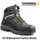 MENS TERRA S3 BLACK LEATHER SAFETY HIKER BOOTS COMPOSITE TOE CAP AND MIDSOLE SZ