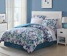 Blue Green Purple Grey 4 piece Comforter Bedding Set King Size