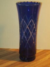 Vintage Czech Bohemian Cobalt Blue Cut To Clear Crystal Large Glass Vase