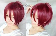 free shipping!Rin Matsuoka Short Wine Red Straight Coplay Anime Wig 001ZAL