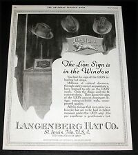 1919 OLD MAGAZINE PRINT AD, LION HATS FOR MEN, THE LION SIGN IS IN THE WINDOW!