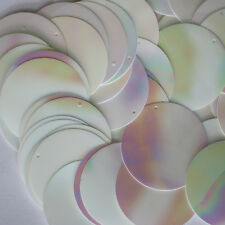 White Paillettes ~ 30mm ROUND SEQUIN Opaque Iris Rainbow Shiny ~ Made in USA