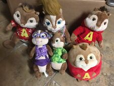 ALVIN AND THE CHIPMUNKS AND CHIPETTES LOT SET  OF 6 PLUSH 1 TY AND BUILD A BEAR