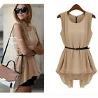 Ladies Irregular Round Neck Collect Waist Chiffon Tops Skirts With Belt 2 Colors