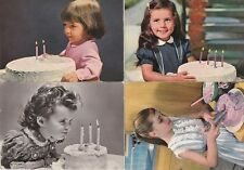 # BAMBINI E TORTE DI COMPLEANNO - anni '50 - '60 (4 cartoline)