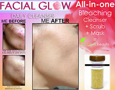 FACIAL GLOW DAILY CLEANSER ACNE SCARS SKIN BLEACHING SOAP & SCRUB & MASK NATURAL