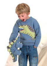Knitting Pattern -Baby up to Junior size Dinosaur Motif Jumper (5 sizes) P0187