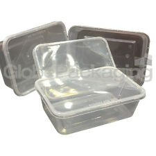30 x PLASTIC 750ml MICROWAVE FOOD TAKEAWAY CONTAINERS WITH LIDS FREEZER STORAGE