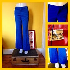 Vintage 70's Royal Blue Trevira Flared Trousers UK 10/12 Mod Northern Soul