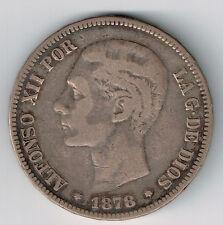 SPAIN 1878 DE-M 5 PESETAS ALFONSO XII .900 SILVER COIN .7234oz