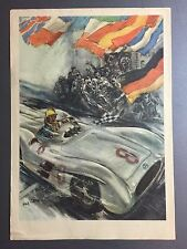 1955 Mercedes Benz 300 SLR Roadster Victory Print / Poster Swedish RARE! Awesome