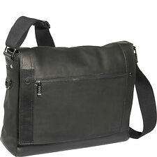 $450 KENNETH COLE MEN BLACK MESSENGER Leather Flapover LAPTOP BRIEFCASE WORK BAG
