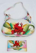 "Articious 100% Handpainted Leather ""Vine"" Handbag & ""Floret"" Wallet BN Authentic"