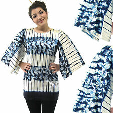 Vtg Blue White Stripe Floral Tie Dye Kimono Mini Dress Angel Sleeve Tunic Top M
