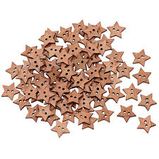100Pcs 2 Holes DIY Star Shape Wooden Button Scrapbook Craft Sewing Buttons