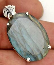 27cts.Huge Labradorite Gemstone Pendant Solid 925 Silver Jewelry IP27169