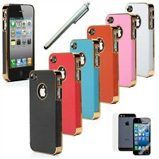 Chrome Genuine Leather Hard Case Cover For iPhone 4S 4 4G Screen Protector