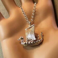 new sterling silver viking boat pendant & chain