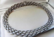 *Stunning* 33g sterling silver 925 mesh braided fully HM choker necklace collar