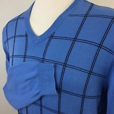 Brooks Brothers 346 Sky Blue Navy Checker V-Neck Suprima Cotton Sweater Men's L