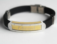 EDWARD - Bracelet With Name - Mens Silicone & Gold Tone Engraved - Gifts For Him