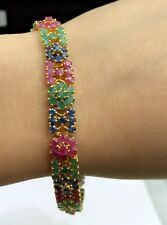14k Solid Gold Cluster Bracelet,Mix Ruby Sapphire Emerald 7.25Inches, 17.5TCW