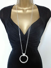 "Sparkly 32"" Long Double Chain Necklace with Diamante Loop Pendant Silver Tone"