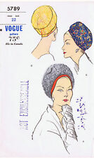 Fabric Material Sewing Pattern VOGUE # 5789 Vintage Millinery HAT Darted Cloche