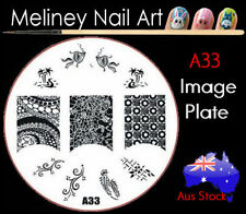 A33 Stamping Nail Art Image Plate Design Round XL Stencil metal
