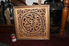 Stunning Chinese Hand Carved Wood Wall Plaque-Dragons Fighting-Master Carving