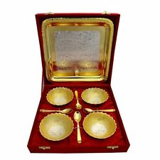 New Soup Curry Set of 4 Bowls with Tray and Spoons Gold Silver Plated UK Seller
